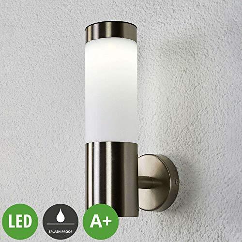 Lampenwelt LED Solarleuchte außen \'Aleeza\' (spritzwassergeschützt) (Modern) in Alu aus Edelstahl (1 flammig, A+, inkl. Leuchtmittel) - Solar-Wandleuchten, Wandlampe für Outdoor & Garten