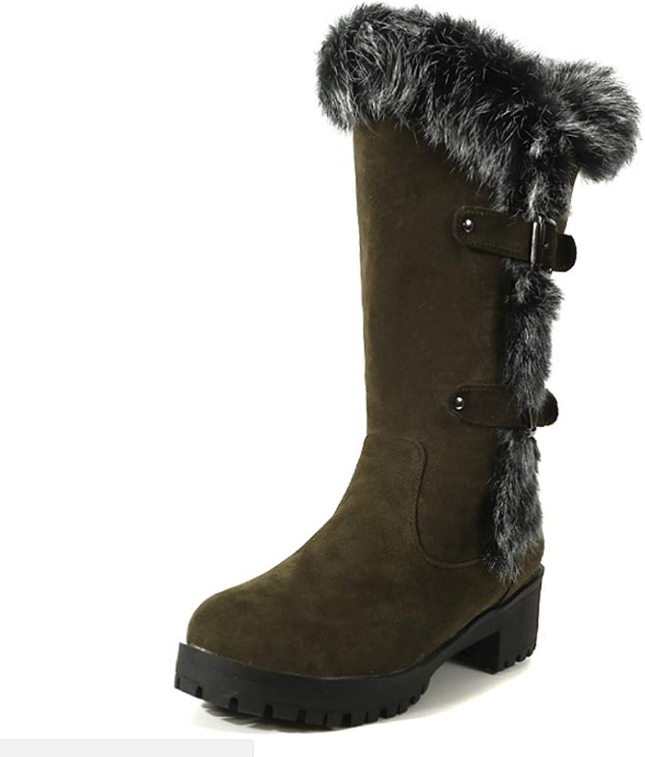 Ladies Women Winter Flat Calf Boots Trainer Buckle Casual Boots Fur Lined Grip Sole Comfortable Warm Size Equestrian Thick Sneakers