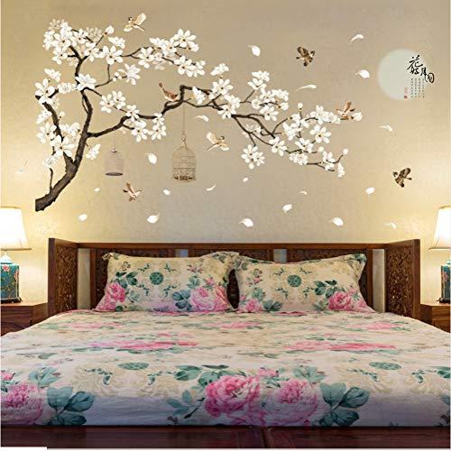 zzlfn3lv 187 * 128 cm Tamaño Grande Árbol Pegatinas de Pared Flor de Aves Decoración para el Hogar Fondos para la Sala de Estar Dormitorio DIY Decoración de Habitaciones de Vinilo