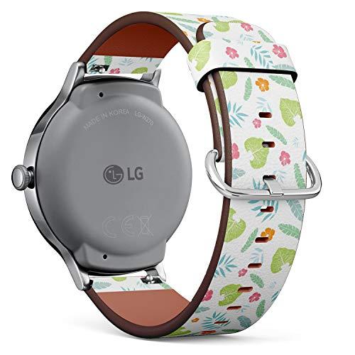 Compatible con LG Watch Style – Reloj de Pulsera de Piel con pasadores de liberación rápida (Fun Tropical Verano Hawaiano)