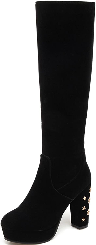 DoraTasia Velvet Star Rivets Decoration Thick Heel Women's Platform Knee High Boots
