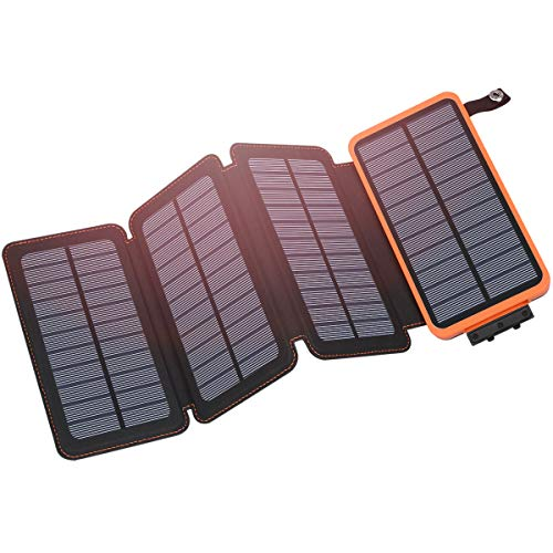 Solar Charger 25000mAh, Hiluckey Outdoor Portable Power Bank with 4 Solar Panels,...