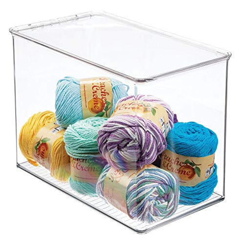mDesign Tall Stackable Plastic Craft, Sewing, Crochet Storage Container Bin with Attached Lid - Compact Organizer and Holder for Thread, Beads, Ribbon, Glitter, Clay - 9' High - Clear