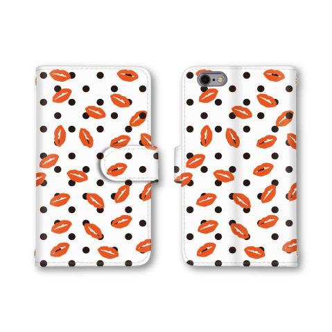 【ノーブランド品】 AQUOS Compact SH-02H スマホケース 手帳型 ドット柄 水玉模様 リップ 唇 キスマーク ホワイトxオレンジ かわいい おしゃれ 携帯カバー SH-02H ケース アクオス コンパクト