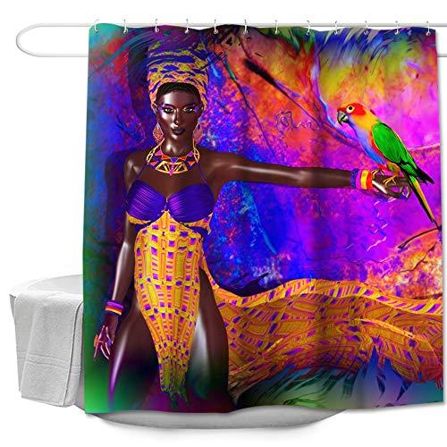Colorful Star Afrikanische Frau und Papagei Duschvorhang-Set, Baddekor, maschinenwaschbar, Polyester-Stoff, Afro-Badvorhang, mit Haken, Afrozentrisches Badezimmer-Zubehör, 183 cm B x 183 cm L