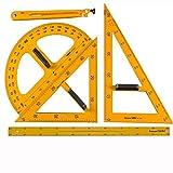 ZJYSM 5 unids/Set Gran enseñanza Triángulo Triángulo Ruler Set Blackboard Enseñanza Ayudas Enceinte Square Ruler Protractor Compass Geométrico Dibujo Demostración Escuela Equipos de enseñanza