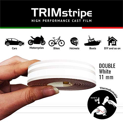 4R Quattroerre.it 10508 Franjas Trim Tiras Adhesivas para Coche, Blanco, Dos Cables 11 mm x 10, 11 x 10 MT