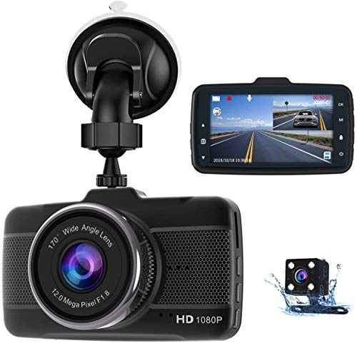 Dash Cams For Cars Front and Rear Full HD 1080P Backup Car Camera, Claoner Dual Dash Cam with Night Vision,...
