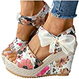 Cookinty Sandals for Women Floral Espadrille Wedges Sandals Open Toe Ankle Strap Platform Sandals Bow Womens Sandals Hot Pink