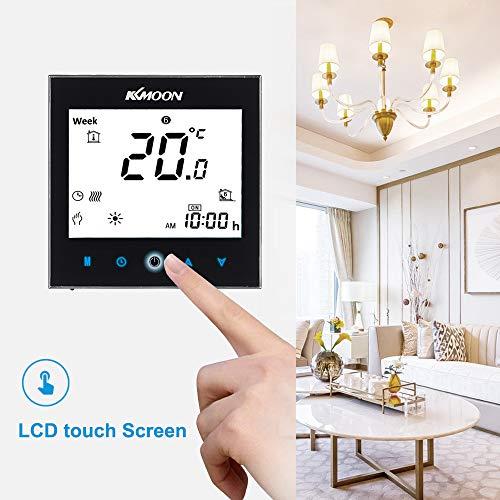 Kecheer Smart-Tfür Thermostaat, met wifi, kamerthermostaat, water-/gasketelverwarmingsthermostaat met LCD-touchscreen, afstandsbediening via smartphone-app, spraakbesturing, energiebesparende