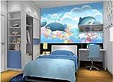 Speedcoming Personalizado Dibujado a Mano Dibujos Animados niño niña flamencos Delfines Setas Barco niños habitación Fondo Pared Papel Tapiz behang x922-250x175cm/98 x 69'
