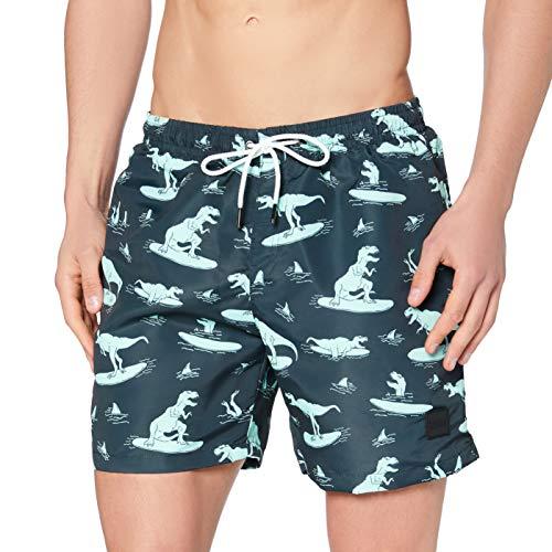 Urban Classics Pattern Swim Shorts Baador para Hombre, Surfing T-Rex AOP, XL