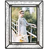 Tabletop photo frame in clear glass with a embossed vintage texture, filigree corners and beaded edge This 5x7 picture frame has an easel back to display either horizontal or vertical photos Wedding frame, family photo frame or vintage home decor Han...
