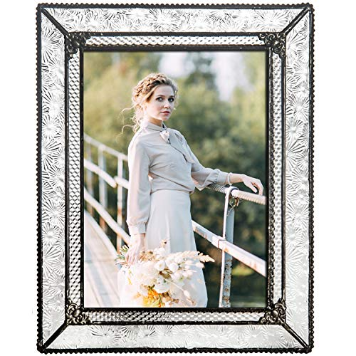 J Devlin Glass Art Clear Vintage Stained Glass Picture Frame Tabletop 5 x 7 Photo Pic 380-57HV