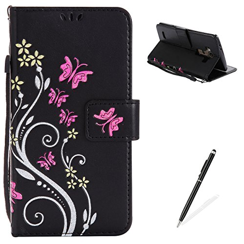 MAGQI LG G3 Case, Premium Slim Fit Flip PU Leather Stand Wallet Book Style Case with Card Slots Magnetic Closure Embossed Rose Flower Butterfly Pattern Cover - Black