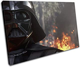 Bold Bloc Design - Star Wars Battlefront Darth Vader Gaming 120x80cm Single Canvas Art Print Box Framed Picture Wall Hanging - Hand Made in The UK - Framed and Ready to Hang RC-7231(00B)-SG32-LO-E
