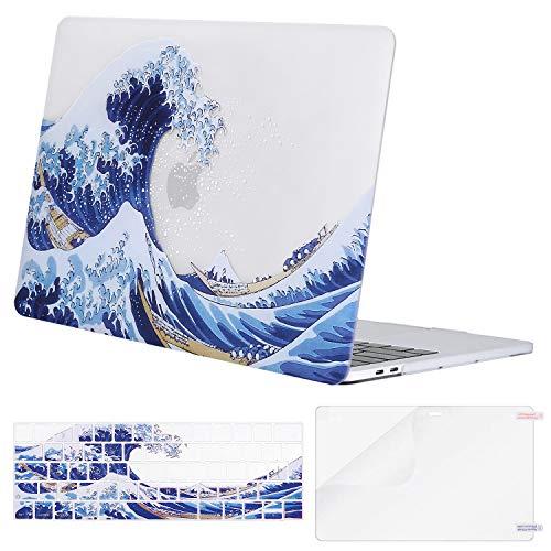 MOSISO Custodia Compatibile con MacBook PRO 13 A2338 M1 A2289 A2251 A2159 A1989 A1706 A1708 2020-2016, Plastica Custodia Rigida & Tastiera Cover & Proteggi Schermo, Base Chiara Sea Wave