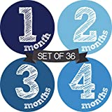 Baby Monthly Milestone Stickers Boy - Baby Milestone Stickers Boy - Baby Monthly Stickers Boy - Baby Month Stickers for Baby Boy - Baby Months of The Year Stickers - Newborn Monthly Baby Stickers