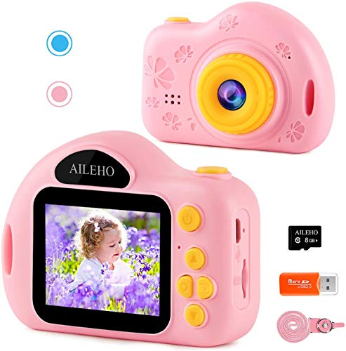 "AILEHO Kids Camera for Girls Birthday Holiday Children Digital Video Camera for Kids Age 3 4 5 6 7 8 9 Years Old Toy Gifts Toddler Camera 8M 1080P 8GB Card Mini Toy Camera IPS 2"" Pink"