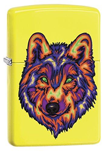 Zippo Neon Wolf, Accendino Tascabile Antivento Unisex-Adulto, Giallo Fluo, Taglia Unica