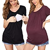 Ekouaer Nursing Tops Breastfeeding Blouses Women's Nursing T Shirt Breastfeeding Shirts for Women Black+Wine Red M