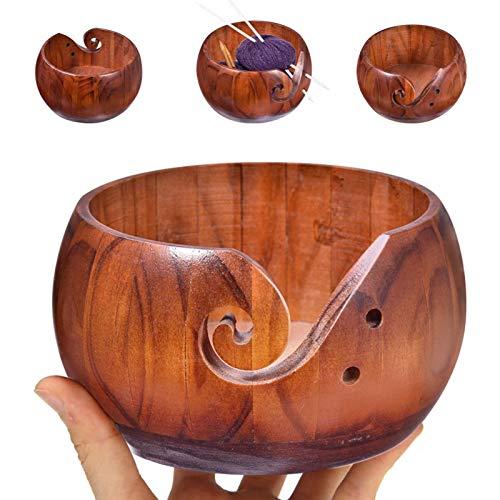 Cuenco de punto, diámetro interior de 15 cm, hecho a mano, con agujeros, cuenco de hilo de madera hecho a mano, cuenco de hilo de madera, cuenco de lana