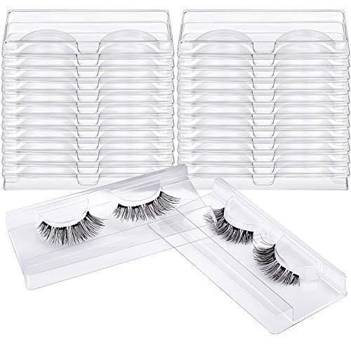 MWOOT 24 Stück Rechteck Klarer Wimpernhalter,Kunststoff Wimpern Behälter Box Halter,Leer Falsche Wimpern Aufbewahrung Etui Wimpern Kasten für falsche Wimpern