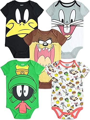 Warner Bros. Looney Tunes Newborn Baby Boy Girl 5 Pack Bodysuit (0-3 Months)