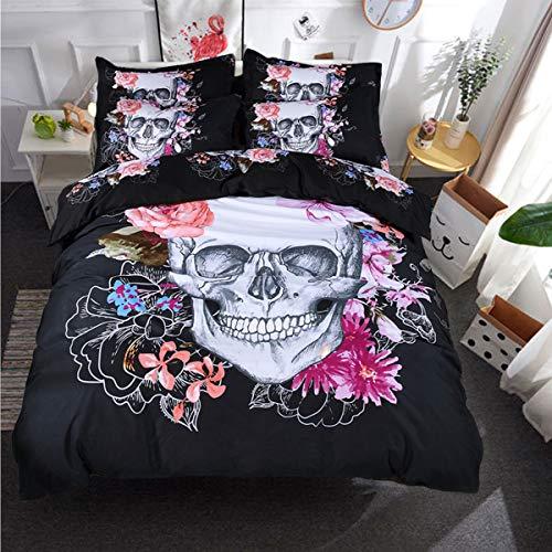 Juego de funda nórdica con estampado de calavera floral 3D Juego de cama doble Microfibra suave 3 piezas Cubierta de colcha gótica con cierre de cremallera y 2 fundas de almohada negras 200 * 200