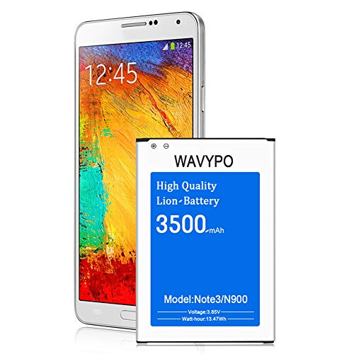 Galaxy Note 3 Battery, Wavypo 3500mAh Replacement Battery for Samsung Galaxy Note 3 [ N9000, N9005, N900A, N900V, N900P, N900T ] Note 3 Spare Battery [18 Month Warranty]