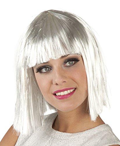 Boland 86165 pruik voor volwassenen Gigi Glamour met lametta, wit, één maat