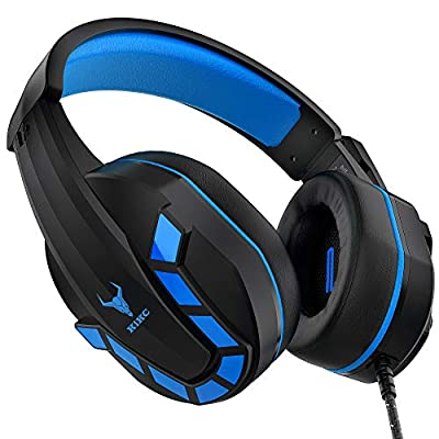 Kikc PS-4 Gaming Headset & PS4 Headset & Xbox one Headset,3.5mm Gaming Headphone with Microphone & Volume Control for Nintendo Switch,PC,Laptop,PS3,Video Game(Black+Blue)