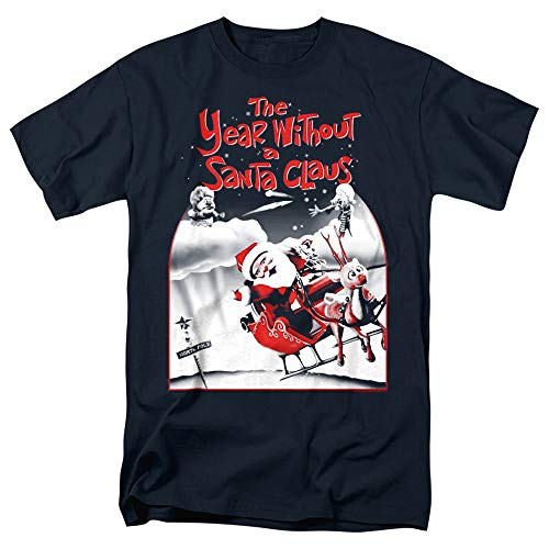 The Year Without a Santa Claus Santa Poster A Unisex Adult T Shirt for Men and Women, Navy, Small