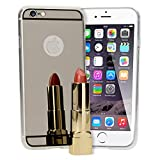 NALIA Coque Miroir Compatible avec iPhone 6 6S, Ultra-Fine Housse Protection Slim Mirror Case Silicone Back-Cover, Mince Telephone Bumper Anti-Choc Etui Résistant Souple Facile, Couleur:Gris