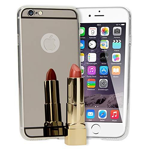 NALIA Custodia Specchio compatibile con iPhone 6 6S, Ultra-Slim Mirror Case Cover Protettiva del Silicone Cellulare, Bumper Copertura Protezione Sottile, Colore:Grigio