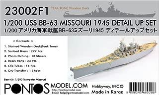 Pontos Model PONF23002 1:200 Detail Up Set - USS Missouri BB-63 1945 with Teak Tone Wood Deck (for The Trumpeter kit) Model KIT Accessory