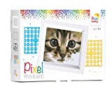 Pracht Creatives Hobby P31179 - Pixel Mosaik Geschenkverpackung Katze, Pixelbild mit Rahmen zum Gestalten für Kinder, Jungen und Mädchen, als kleines Geschenk, Mitgebsel, für den Kindergeburtstag