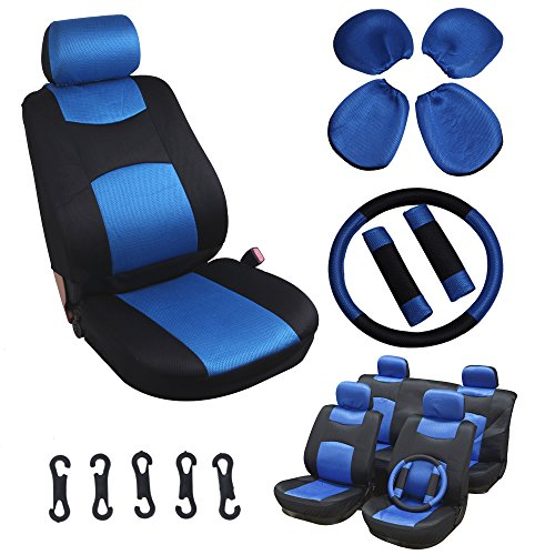 SCITOO Universal Blue/Black Car Seat Cover w/Headrest/Steering Wheel/Shoulder Pads 11Pcs Breathable Mesh Cloth Retractable