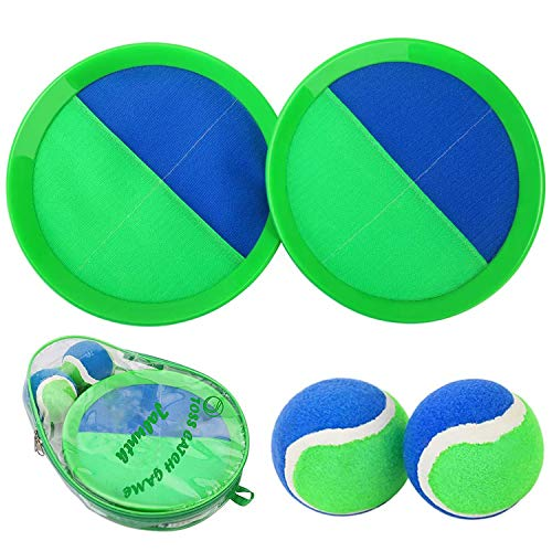 Jalunth Ball Catch Set Games Toss Paddle - Beach Toys Back Yard Outdoor Lawn Backyard Throw Sticky Set Age 3 4 5 6 7 8 9 10 11 12 Years Old Boys Girls Kids Adults Family Outside Easter Gifts Green