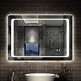 AICA SANITARIOS Espejo de baño 80x60 cm Espejo led - Interruptor Táctil - Función Anti-Niebla - Frío Blanco (6000K) - Espejo de Pared - Espejo con iluminación