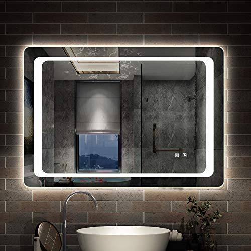 AICA SANITARIOS Espejo de baño 90x65 cm Espejo led - Interruptor Táctil - Función Anti-Niebla - Frío Blanco (6000K) - Espejo de Pared - Espejo con iluminación