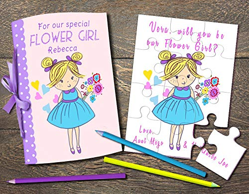 Flower Girl Wedding Coloring Book, Will You Be My Flower Girl Puzzle, Flower Girl Invitation