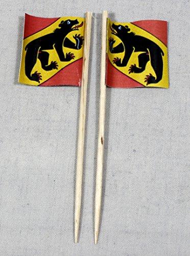 Buddel-Bini Party-Picker Flagge Bern Kanton Schweiz Papierfähnchen in Spitzenqualität 50 Stück Beutel