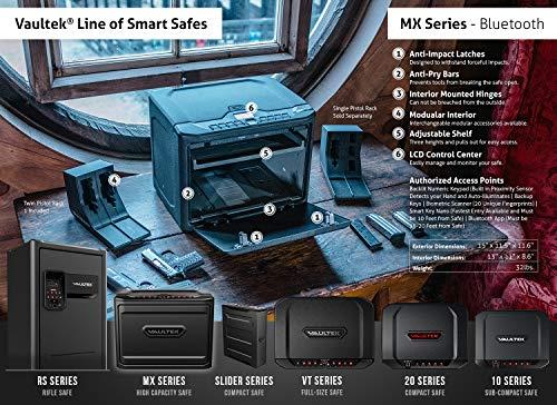 VAULTEK MXi Bluetooth and Biometric Safe High Capacity Keypad Biometric Handgun Safe Multiple Pistol Storage Smart Safe with Auto-Open Door and Rechargeable Battery (Biometric+Bluetooth)(Black)
