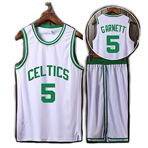 WASDQE Basketbaltrui voor Celtics Garnett 5, klassiek trainingspak in vakversie, prestatieuniform, sporthemd-shorts voor volwassenen