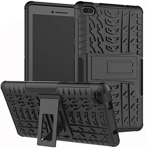 Gadget Giant Shockproof Case for Lenova Tab E7 TB-7104F (7 Inch) Heavy Duty Rugged Cover with Built-in Kick Stand - Black