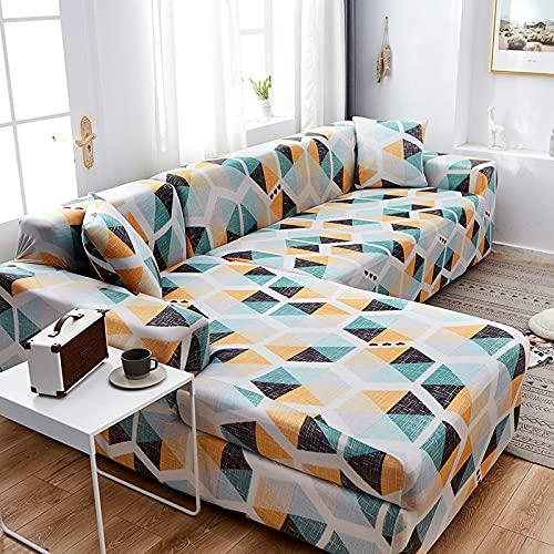 ASCV Funda de sofá con patrón geométrico Fundas de sofá elásticas para Sala de Estar Funda de sofá en Esquina Forma de L Necesita Comprar 2 Piezas Fundas A8 2 plazas