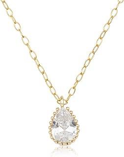 Cubic Zirconia Teardrop Pendant Necklace, 14k Gold Dainty Necklace for Women