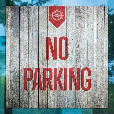 Nautical Wood Clear Window Cling CGSignLab 5-Pack No Parking 24x24