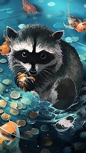 Houten puzzel 1000 stukjes,wasbeer En Vis In Het Water Geschikt Voor Tieners En Volwassenen Houten Puzzel Unieke Woondecoraties En Cadeaus Diy